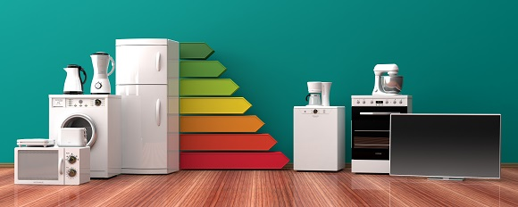 Home appliances and energy efficiency rating. 3d illustration - éiquette-énergie-maisons-aliénor-facture-constructeur-maisons-individuelles-périgord